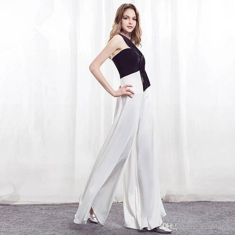7c7b21324131 ... White Black Chiffon Evening Dress 2018 Off Shoulder Jumpsuits Women  Custom Sexy Formal Pageant Gowns For ...