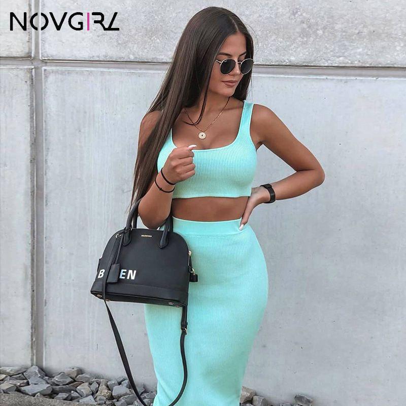 Kaburga Örgü İki Parçalı Set Elbise Kadınlar 2019 Yaz Neon Yelek Kırpma Üst Ve Uzun Etek 2 Parça Takım Elbise Seksi Kulübü Parti Midi Elbise