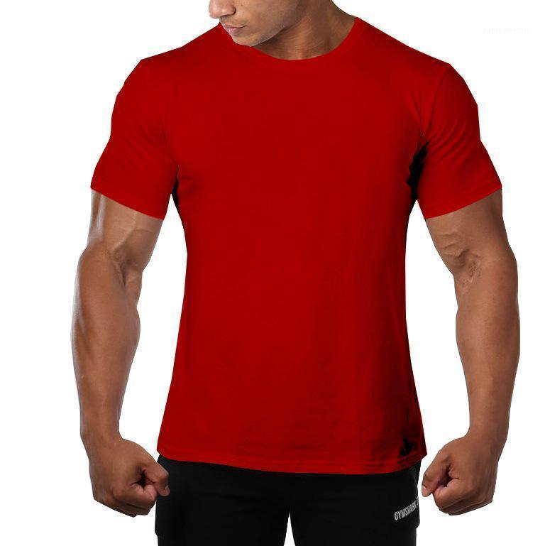 Ausschnitt Kurzarm Quick Dry Männlich Kleidung beiläufige Art und Weise Homme Bekleidung Mens-Sommer-Solid Color-T-Shirts Mannschaft