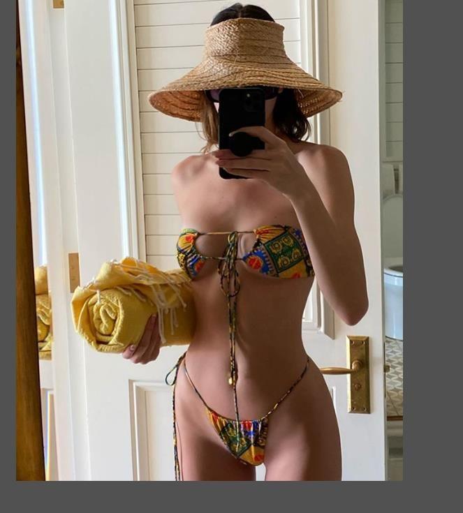2020 Seksi Brezilyalı Bikini Mayo Tasarımcı Kadınlar Halter Push Up Bikini Seti Mayo Kadın Çiçek Bandaj biquini Mayo KJ01 yazdır