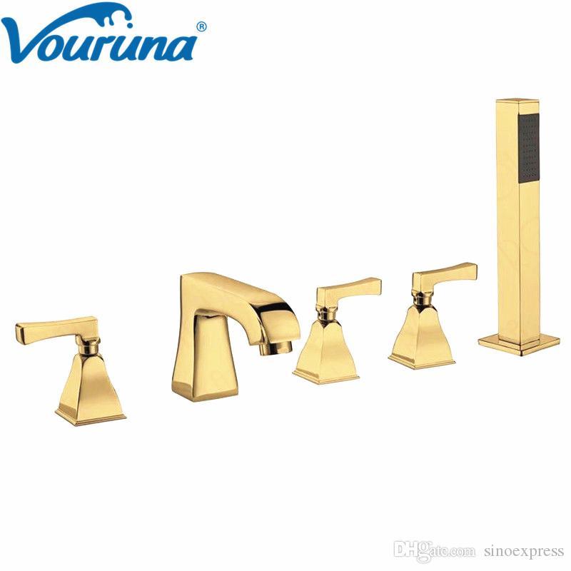 Vouruna роскошный золотой 5-Луночный смеситель для ванной Римская ванна наполнитель душ смеситель