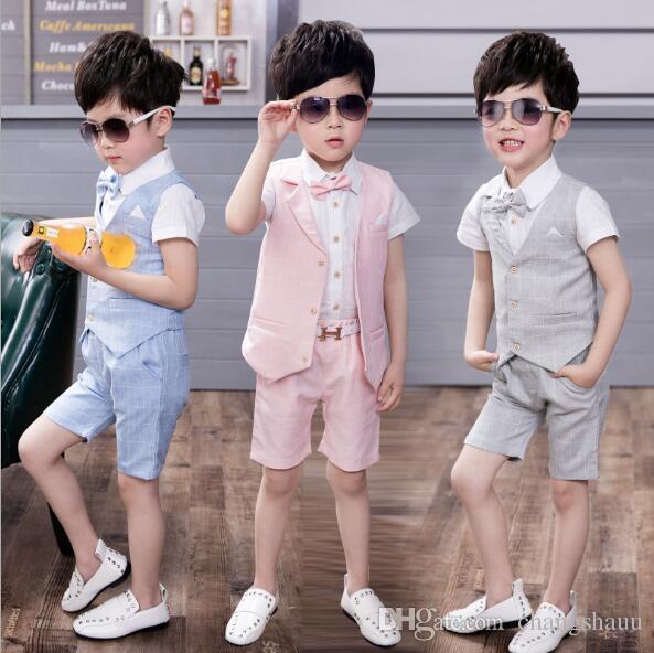 3шт жилет + брюки+рубашки летний плед формальный жилет топ нежные костюмы для мальчиков