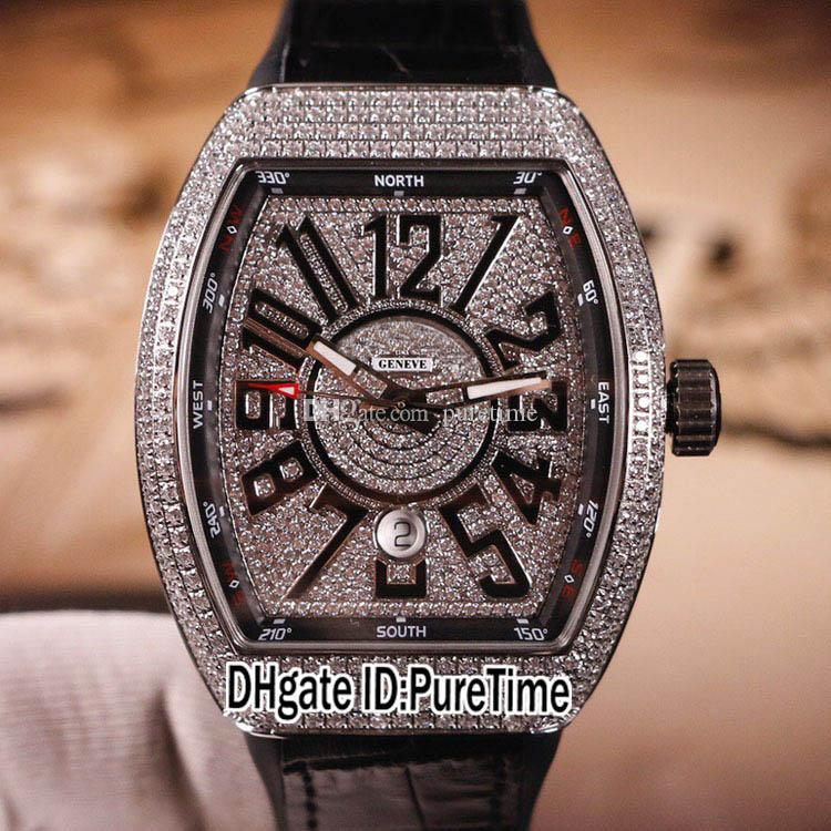 New Vanguard V45 SC DT NR 5N Steel Silver Diamonds Dial Big Number Mark Miyota Automatic Mens Watch Rubber Leather Watches Puretime A24b2