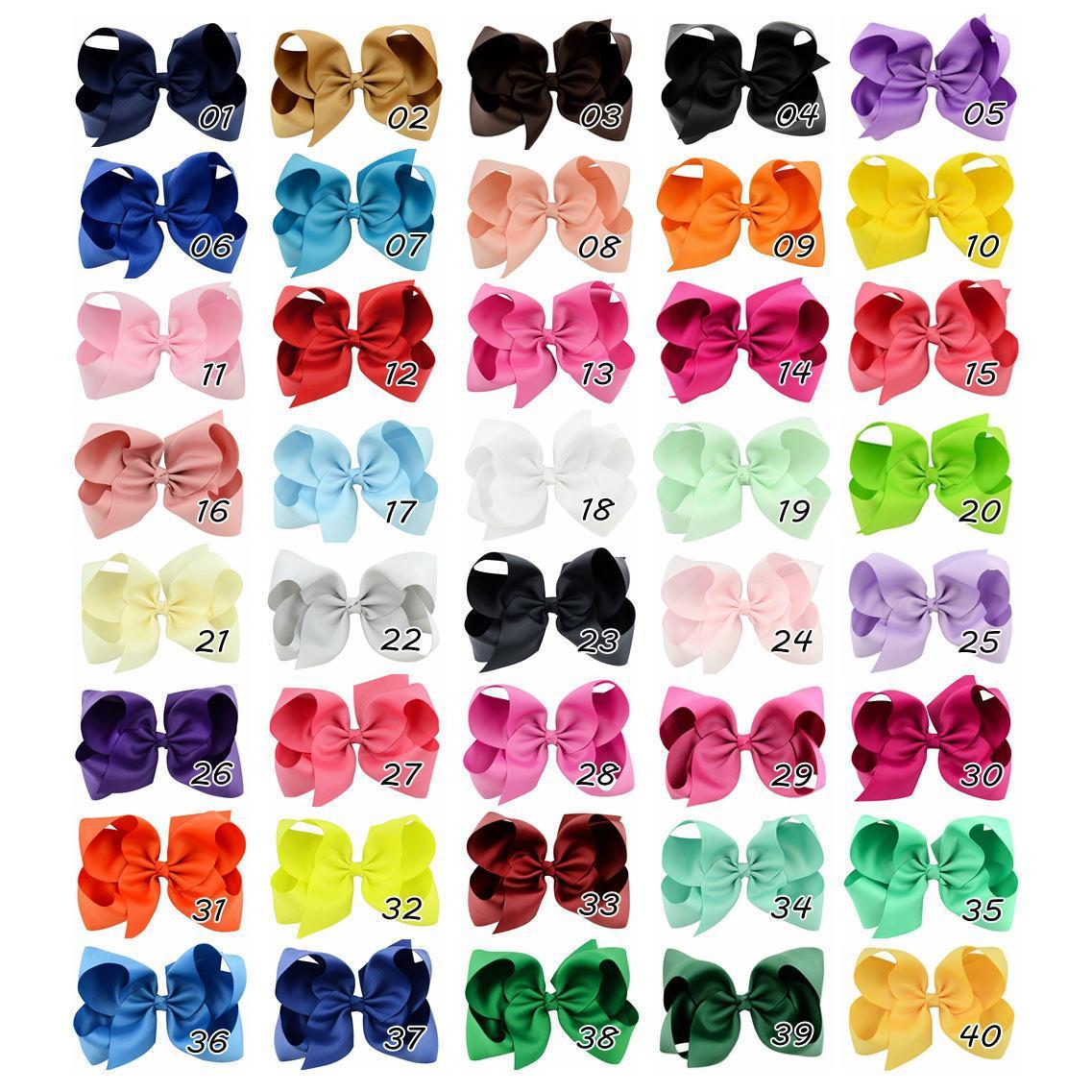 6 인치 베이비 리본 활 클립 솔리드 컬러 록 클립 소녀 큰 bowknot 머리핀 아기 머리 부티크 활 어린이 헤어 액세서리 40colors