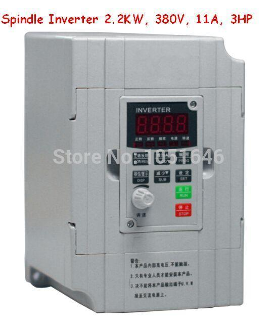 Freeshipping , Spindle Inverter 2.2KW, 380V, 11A, Frequency conversion, Input 3-phases 380V output 3-phase 380V 2.2KW converter