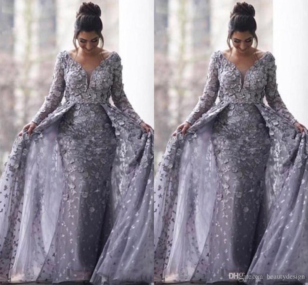 Großhandel Saudi Arabische Grau Muslimische Abendkleider 16 Mermaid V  Ausschnitt Mit Langen Ärmeln Tüll Islamisch Dubai Lange Formales Abendkleid