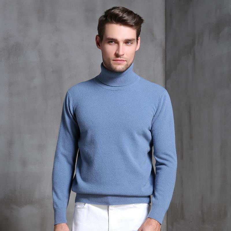 Осень и зима высокий отворот свитер мужская толстые свободные случайные теплый свитер кашемир сплошной цвет дна рубашка