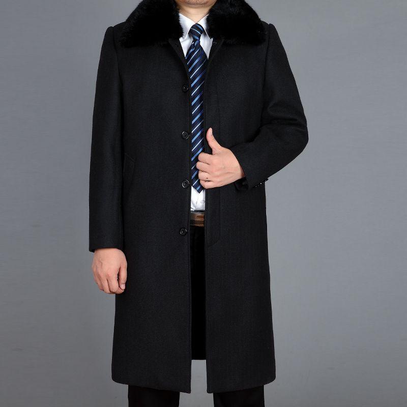 Niza Tide Piel caliente grueso abrigos de invierno de moda para hombre de la capa de mezcla Chaquetón de lana hombres abrigo de invierno de lana largos de la capa real M-4XL