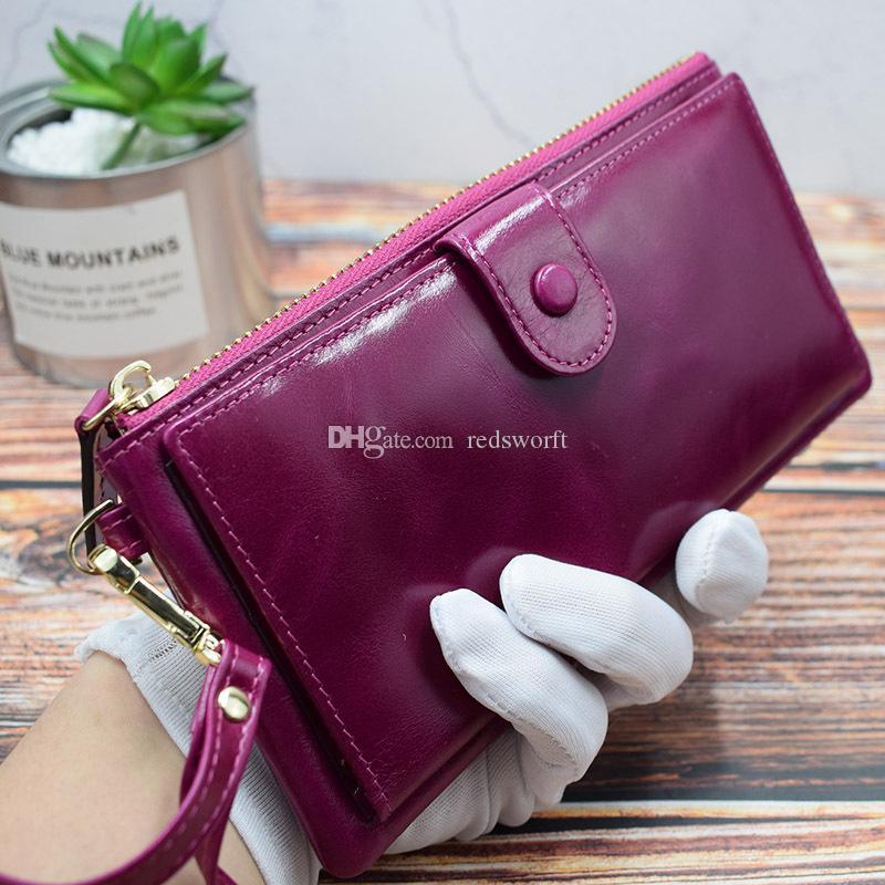 Magidon Brand New Ladies Handbag Wallet Multi-Card Large Capacity Wallet Phone Bag Retro Top Layer Cowhide Oil Wax Leather Purse Bag