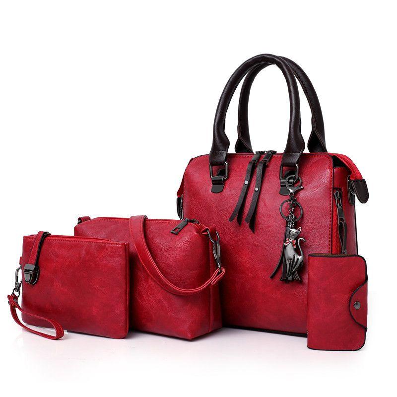 Four Sets Wax Oil Pu Leather Bag Ladies Handbags Women Handbag Designer Handbag Tasse Lhigh Quality Woman Bag Famous Sac A Main J190719