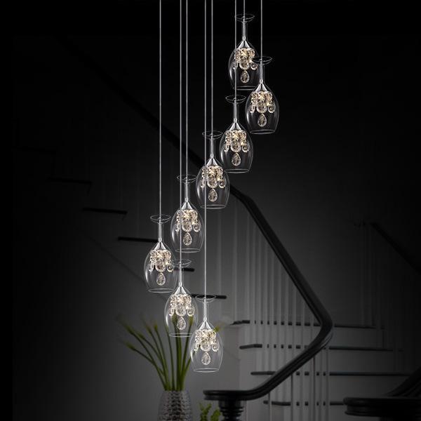 Moderne minimalistische LED-Restaurant-Lichtweinglas-Bar-Esszimmer-helle Kristall-Kronleuchter kreative Persönlichkeit Kunst Glas Pendelleuchte stjx