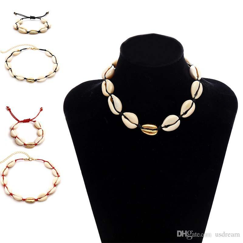 Beach Natural Shell Necklace Bracelet Jewelry Set Shell Chokers Fashion Jewelry for Women Will and Sandy N092