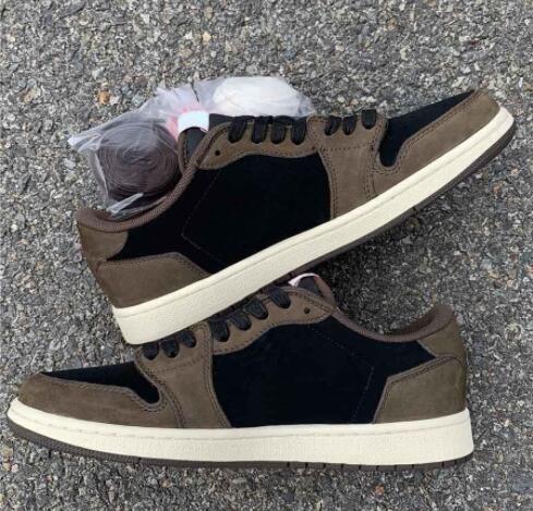 2020 alta Cactus alta qualidade Travis Scott 1 Jack tênis de basquete 1s Sapatos de vela preto escuro Mocha Moda Outdoor Sports (Sem Caixa)