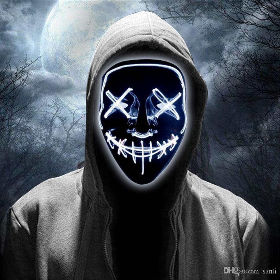 LED Máscaras assustadores do Dia das Bruxas Brilho Máscara assustador Light Up Cosplay Rave para o partido Festival festas a fantasia da luz fria JK1909