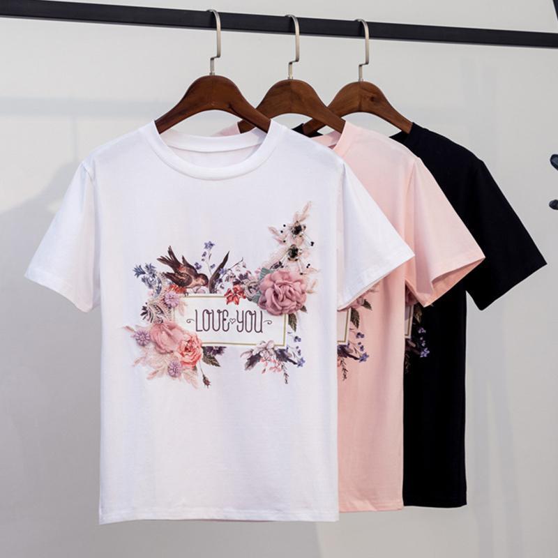 T-shirt 3D Embroidery Bead maglietta Tops O manica corta applicazioni di fiori signore magliette primavera-estate femminile vestiti Y200109