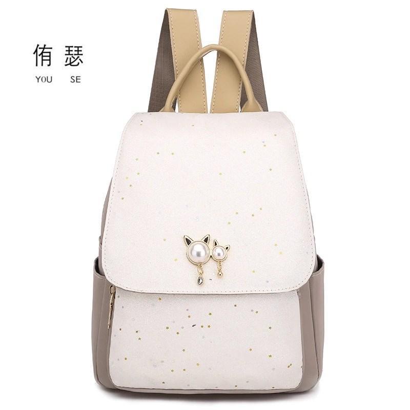 2020 neue adrette Art der festen Frauen Kawaii Rucksack einfach zwei Bären reisen Muster Damen Tasche Student Schulrucksäcke