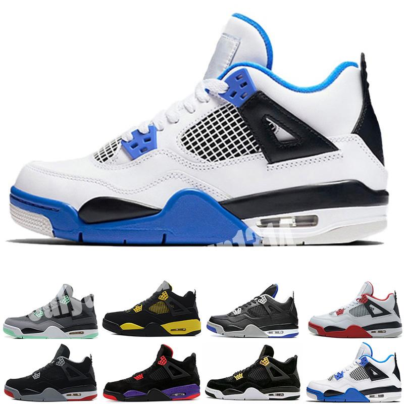 Nike Air Jordan 4 AJ4 Retro 2020 Mensbasketballschuhe 4s Was die 4 Loyal Blau Cool Grey schwarze Katze Reines Geld White Cement Trainer Sport Turnschuhe c13 Bred