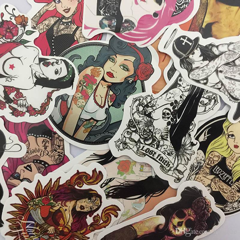 100 قطعة / المجموعة المدرسة القديمة مثير الوشم بنات كول اللون ملصقات لل محمول سكيت الأمتعة سيارة صائق pvc ملصقات للماء