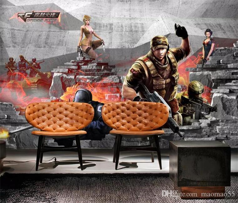 جدارية مخصصة خلفية اطلاق النار لعبة مقهى انترنت موضوع خلفية جدارية 3D جدارية خلفية غرفة المعيشة