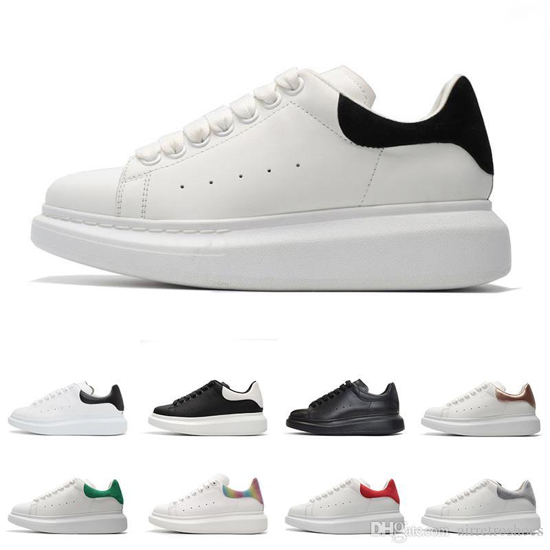 مصمم عارضة أحذية بيضاء من الجلد الأسود من جلد الغزال 3M الذهب عاكسة حمراء خضراء مريحة أحذية رياضية التزلج شقة حجم 36-44
