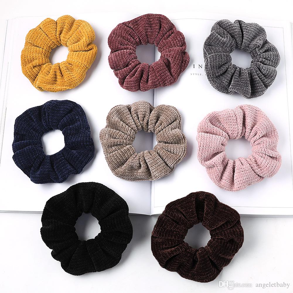 Fashion Hair Scrunchies Bobble Solid Color Sports Elastic Dance Headband Rope Women Hair Band Ring Soft Scrunchie Ponytail 50pcs 1029A