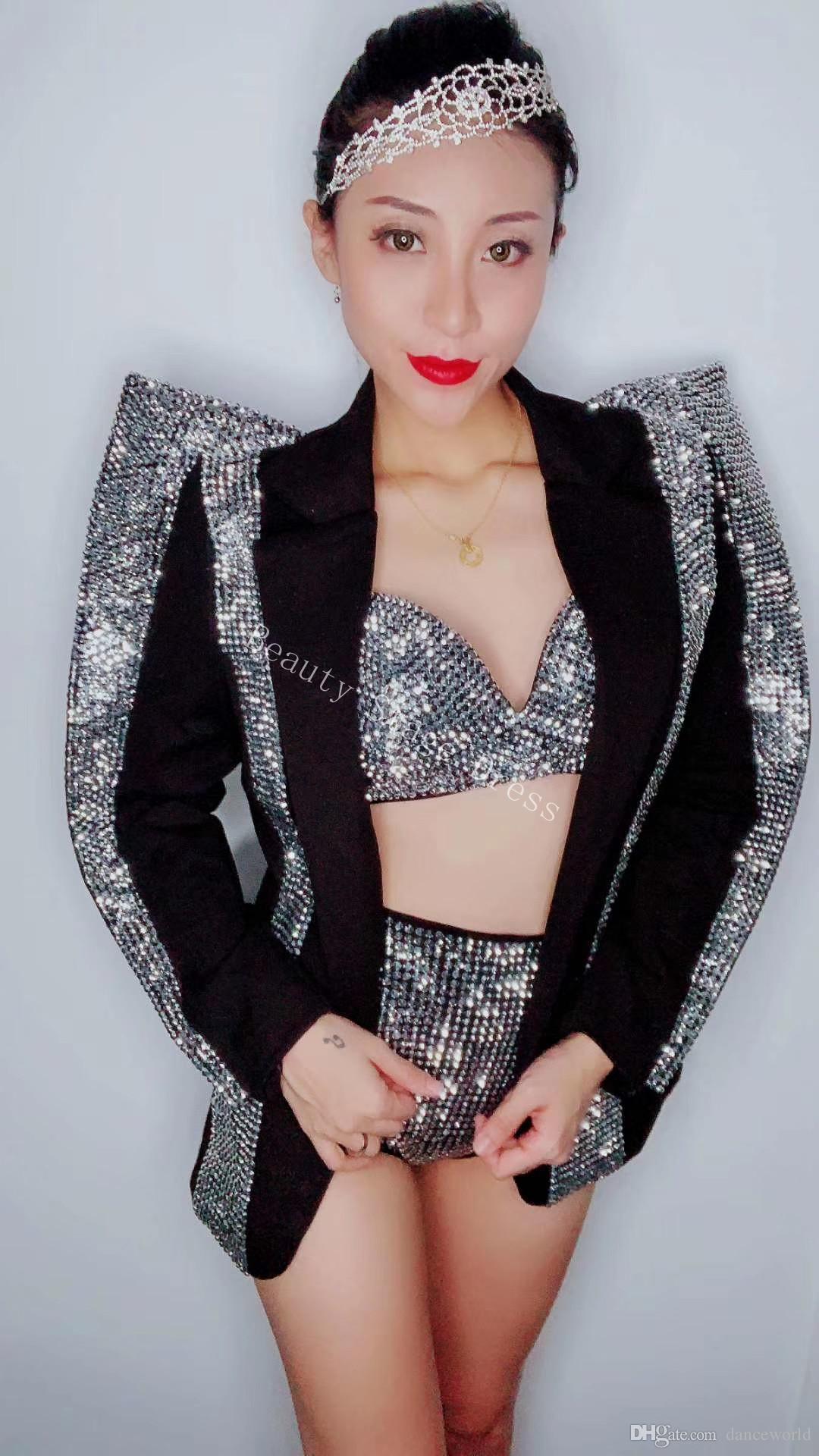 Sujetador de diamantes de imitación de plata brillante Conjunto de traje de chaqueta corta Cantante Bailarina de desgaste Desgaste Negro Juego de traje de fiesta de cumpleaños