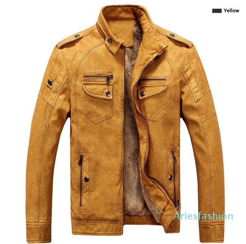 Brand Designer Men Leather Jacket Coat Fashion Stand Collar Slim Fit Thick Fleece Men Jackets For Autumn Winter