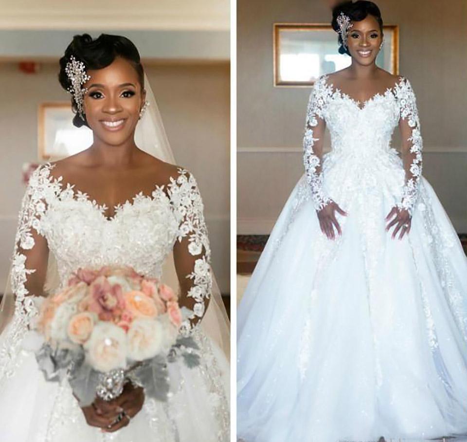 Vestidos de boda de alta calidad baratos Árabe Vintage encaje apliques Vestidos de novia Sheer Jewel Cuello Vea a través de mangas largas Vestidos nupciales