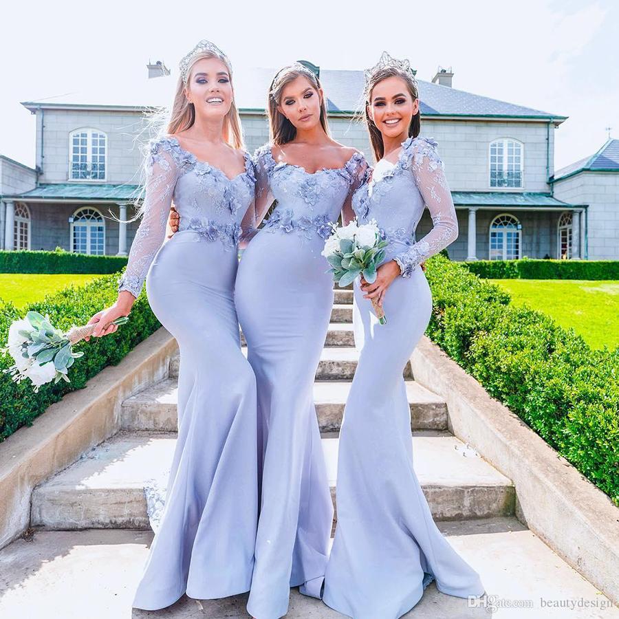 Vintage arabe manches longues glacée bleu sirène demoiselles d'honneur robes 2019 Appliques 3D Fleurs Longue femme de ménage d'honneur robe de bal de robe de bal BM0606