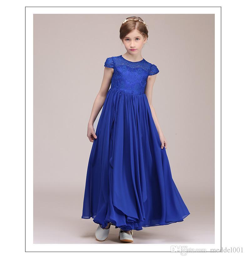 Senza maniche in pizzo Flower Girl Dresses Moda viola di Tulle di Applique Prima Comunione abiti per le ragazze Pageant Abiti