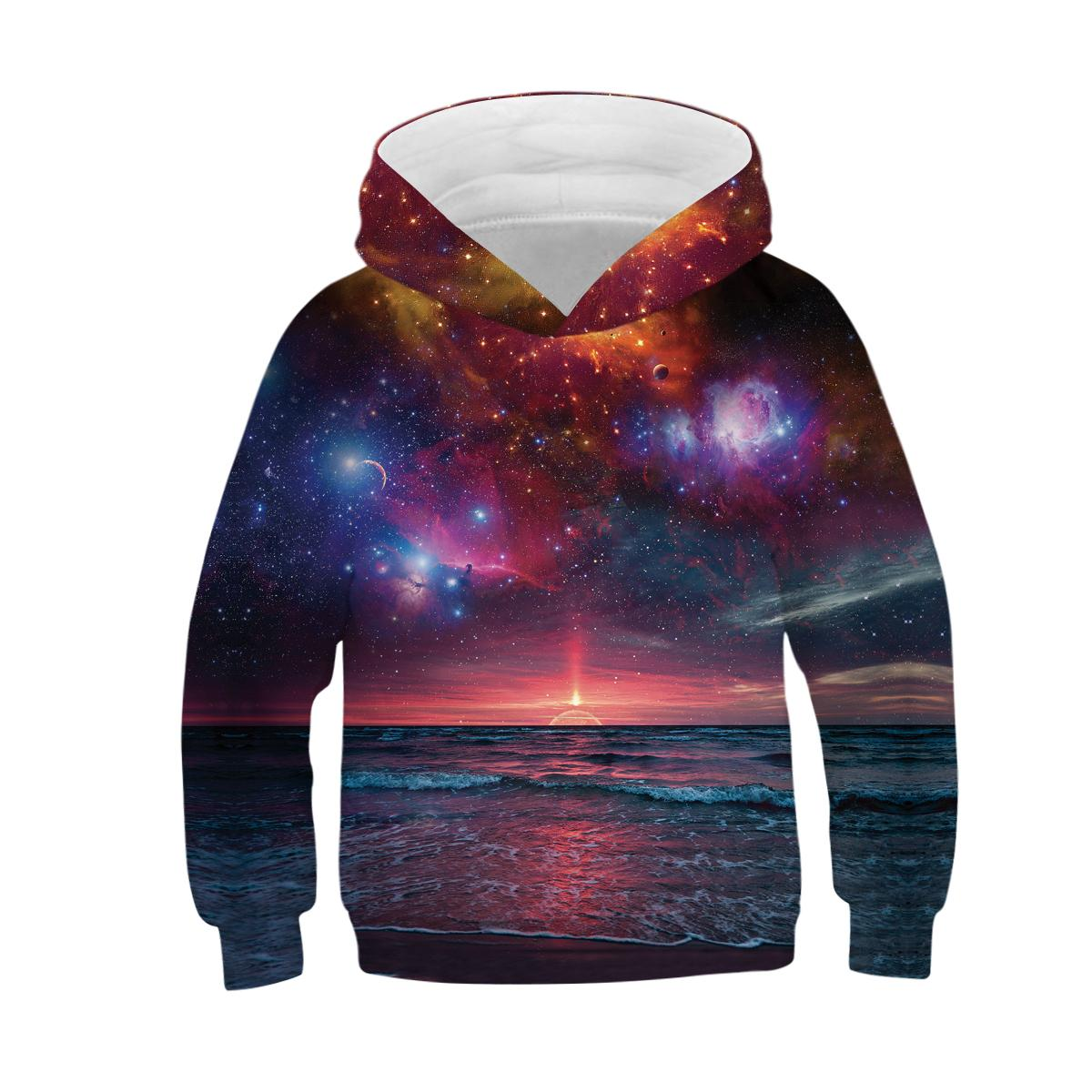 New Star Space Galaxy Hoodies Hooded Boy Girl Hat 3D Sweatshirts Print Colorful Nebula Kids Fashion Pullovers Clothes Tops