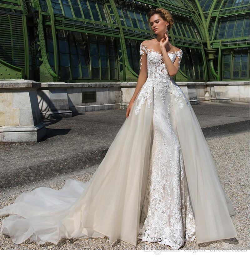 A-Line Wedding Dress 2019 Boat Neck Long Sleeve 2 In 1 Detachable Luxury Sexy Backless Bride Dresses Robe de Mariee wedding Gowns