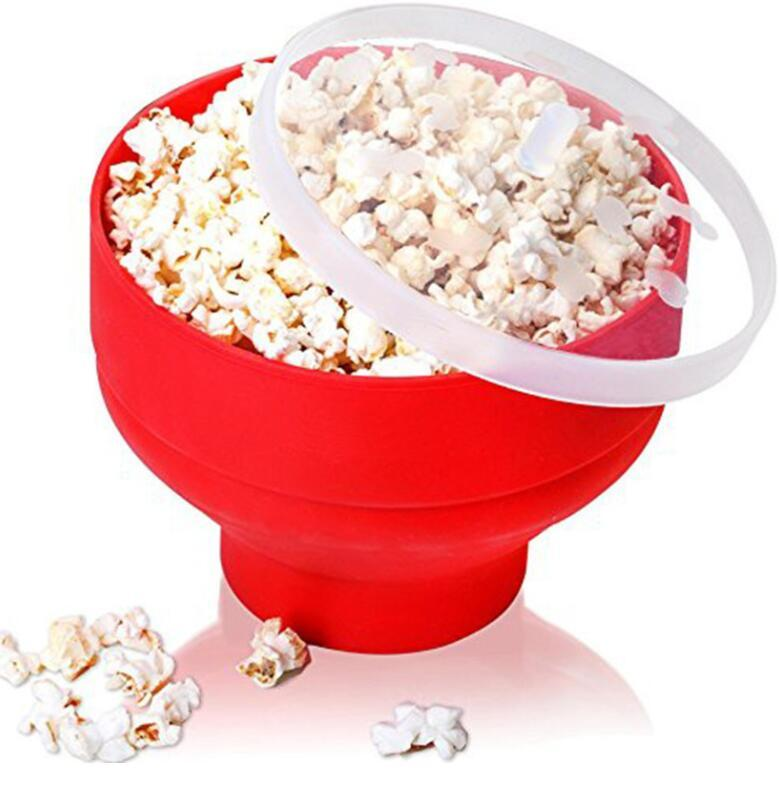 Silicone Popcorn Makers dobrável Popcorn Popper balde com tampa fabricante da pipoca Bacia de Home Kitchen Party Jantar Ferramentas DIY GGA3115-8