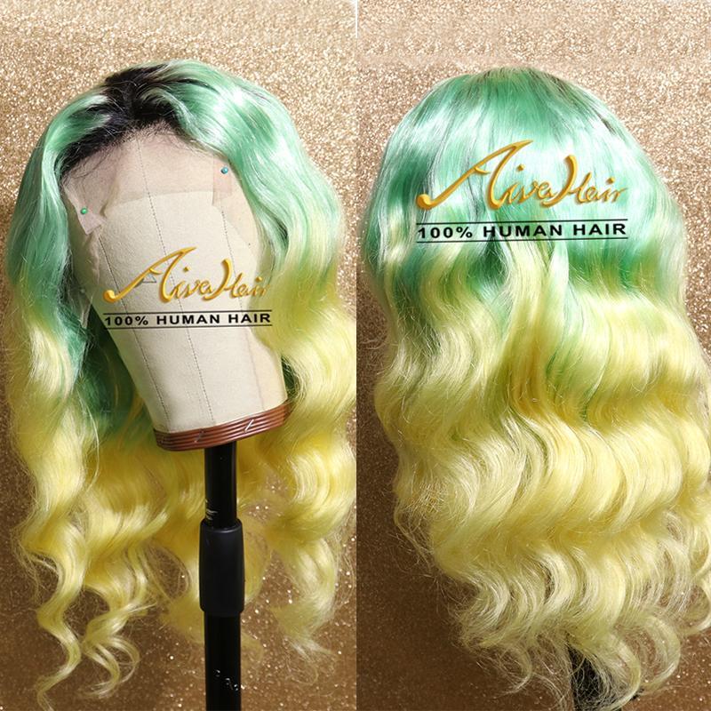 AIVA de dentelle humaine Ombre Vert Cheveux Perruques Jaune avec bébé cheveux corps transparent vague COLORÉ Remy Glueless Perruques