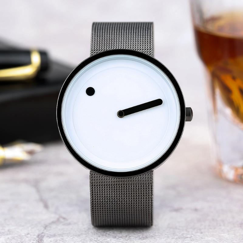 Mens original da forma Pointer face Sport Watch Luxo Super Aço Inoxidável Magro malha Banda Relógio Casual Mulheres de pulso de quartzo