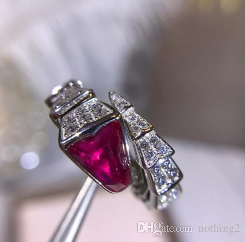 링 보석 925 스털링 실버 골드 다이아몬드 모양의 보석 개방 뱀 반지 여성 약혼 반지 2 색