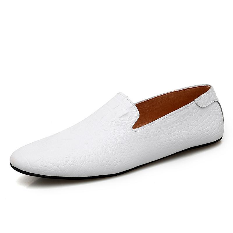 Homens de marca mocasses primavera e outono homens sapatos casuais de couro genuíno sapatos de condução de crocodilo sapatos dos apartamentos dos homens mais tamanho