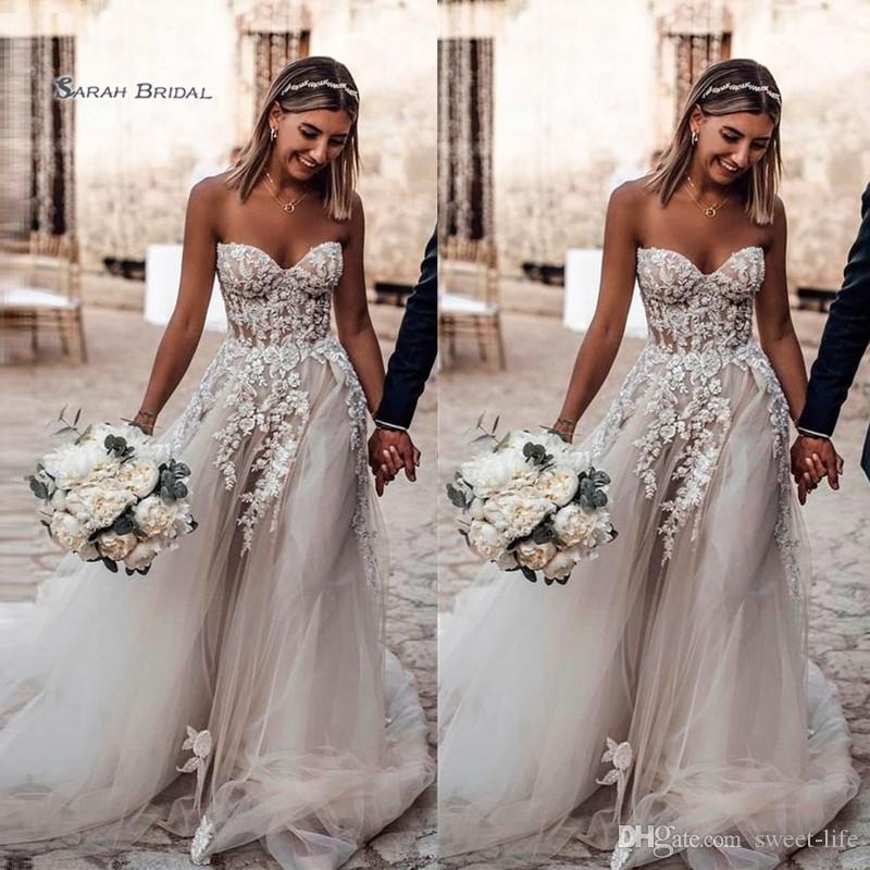 2019 novia de tul vestido de novia barrer tren apliques sin mangas una línea de boda vestido de novia de gama alta de la boda Boutique