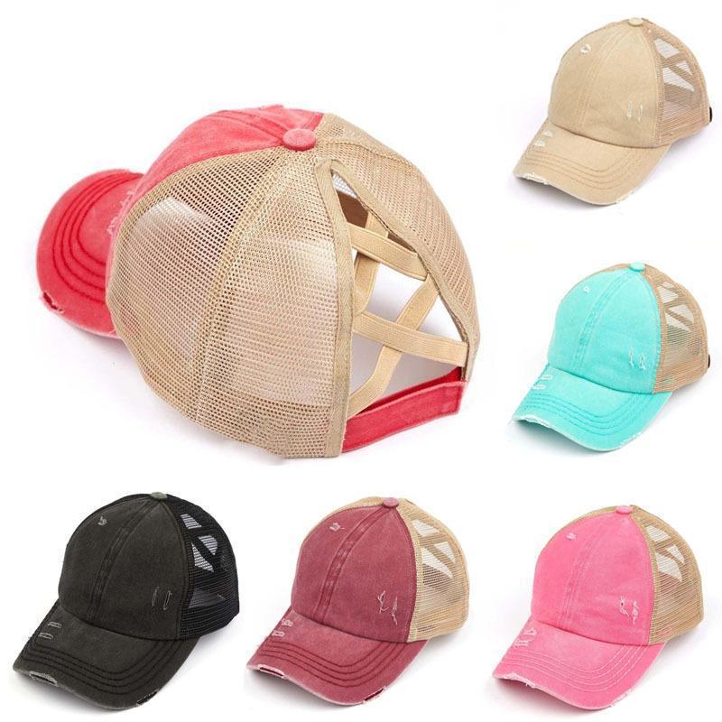 Donna Coda di cavallo Berretto da baseball lavato Distressed Denim Hat sudicio alta Bun Mesh regolabile Hat DDA4