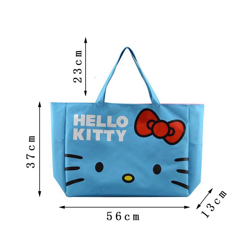 Foldable Cute Handbags Girl Women Travel Organizer Hello Kitty Shoulder Eco Shopper Beach Bags Accessories supplies products Lot