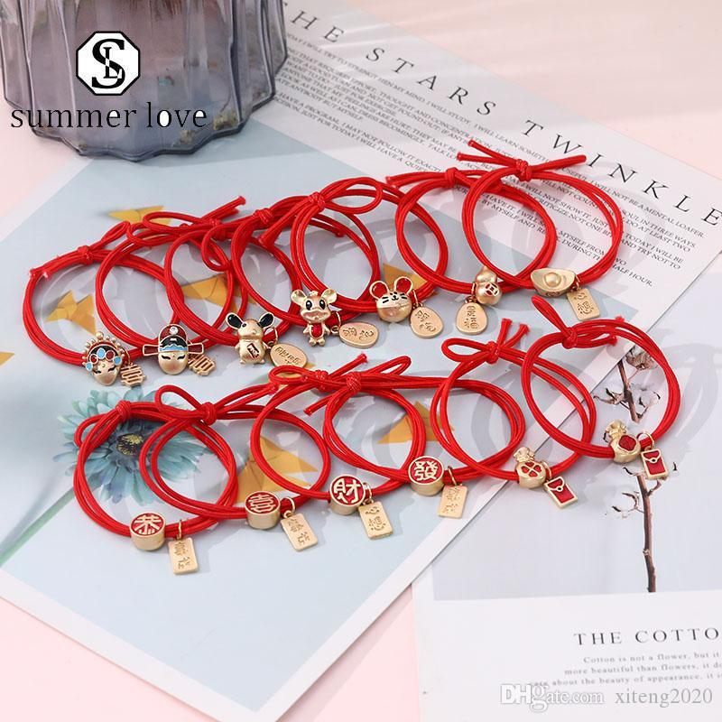 Cuerda de la moda del estilo encantador Cabeza china Lucky Red Ponytail de la cuerda de la cuerda Feliz Año Nuevo pelo Charm novia Headwear-Y Accesorios