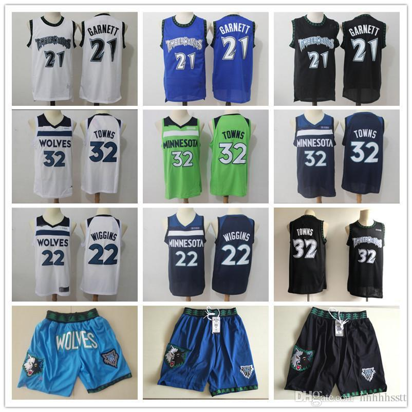 Pour des hommesMinnesotaTimberwolvesKevin Garnett Throwback 21 Karl-Anthony 32 Villes Andrew Wiggins 22 Shorts Basketball Maillots Noir