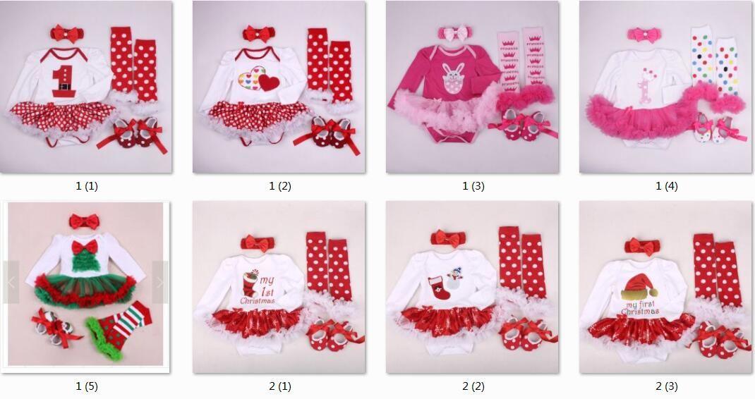 baby tutu rompers dress sets Christmas Rompers dress + ruffles leg warmer + cotton walking shoes + girl crochet headbands 6 piece/set PP005