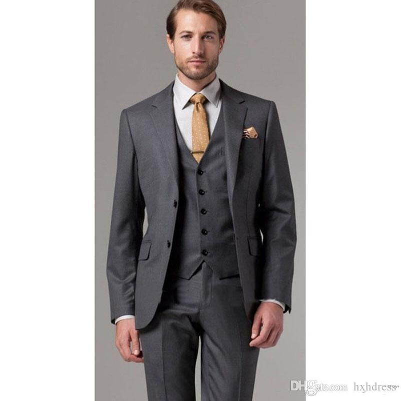 New High Quality Two Button Dark Gray Groom Tuxedos Notch Lapel Groomsmen Best Man Suits Mens Wedding Suits (Jacket+Pants+Vest+Tie) XF243