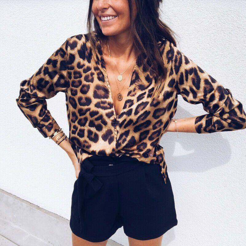 T-shirt solto Casual manga comprida Mulheres leopardo Tops T-shirt