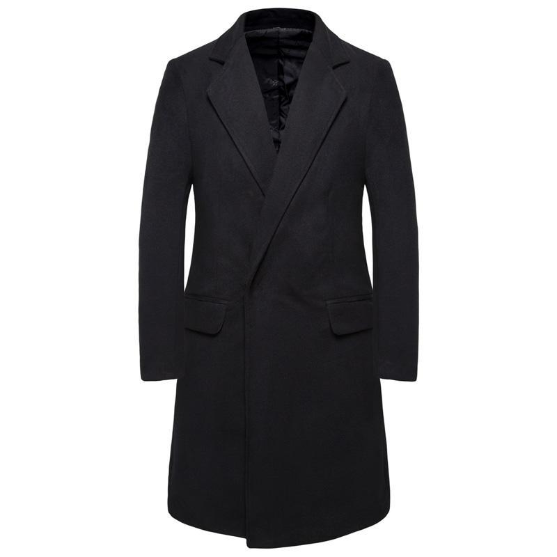 Cappotto di lana da uomo in tinta unita da uomo classico casual casual da uomo Slim Warm Warm Jacket Gentleman