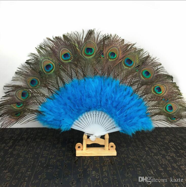 New Peacock Feather Fans 2019 Wedding Bridal Gift Carnival dance fans Party favors 9 colors available