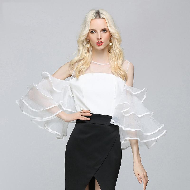 Temperament one word collar and shoulder leakage sexy top women's summer chiffon Korean night show celebrity's versatile shirt