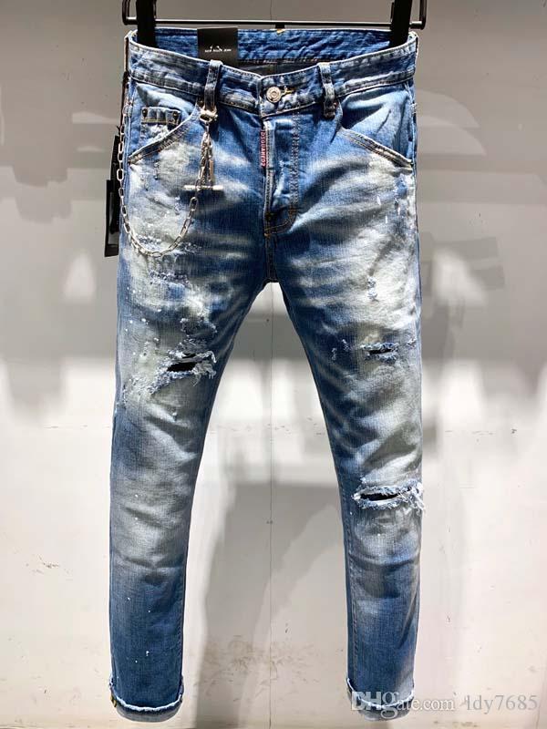2020ss homens europeus e americanos fazem velho jeans slim versão motocicleta motocicleta denim, homens homens designer de moda jeans casual 2dv