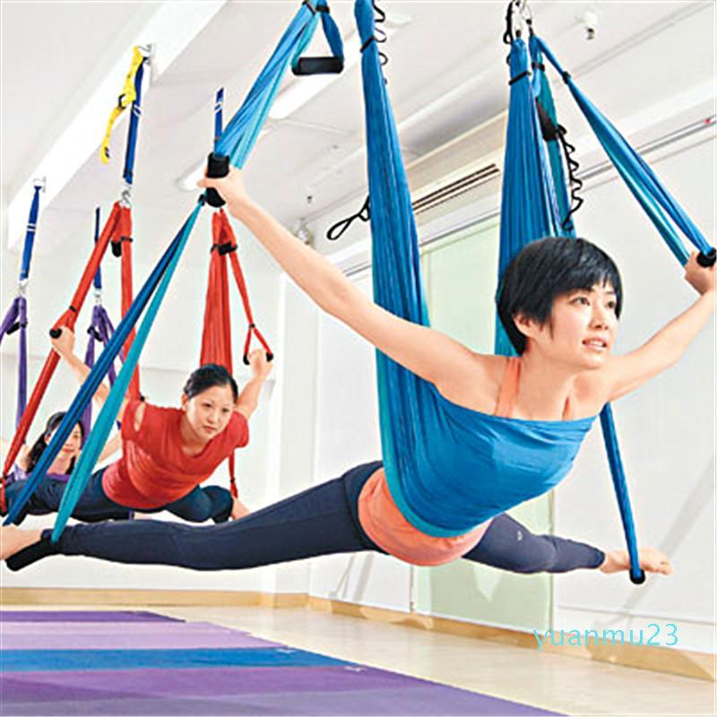 Yoga Hammock Swing Parachute Fabric Inversion Therapy Anti-gravity High Strength Decompression Hammock Yoga Gym Hanging Yoga Stripes